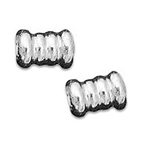 """Luxury & Custom {6.5mm w/ 3.8mm Hole} of Approx 50 Individual Loose Small Tube """"Corrugated"""" Beads Made of Genuine Plated Brass w/ Metallic Chrome Elegant Reflective Ribbed Ring Spacer Design {Silver}"""