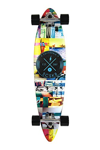 Complete Mini Longboard Skateboard - SCSK8 Natural Blank & Stained Assembled Complete Longboard Skateboard (Mini Surf, 34