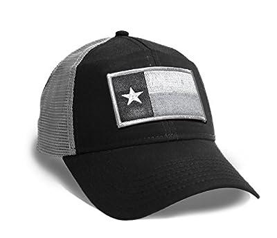 Strange Cargo Tees Texas Flag Cap Black and Grey Baseball Snap Back Hat
