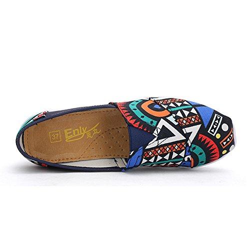 Lz-mzf9006shenlan37 Enllerviid Vrouwen Slip Op Platform Canvas Sneakers Multicolor Shape Up Fintess Wandelschoenen Donkerblauw 6 B (m) Us