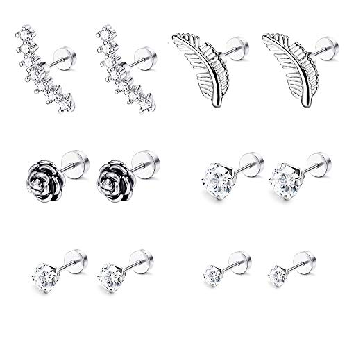 LOYALLOOK 6-8 Pairs 16G Stainless Steel Flower Feather Cartilage Cubic Zirconia Inlaid Helix Hoop Stud Earrings Tragus Piercing Jewelry for Men Women (6 Pairs) ()