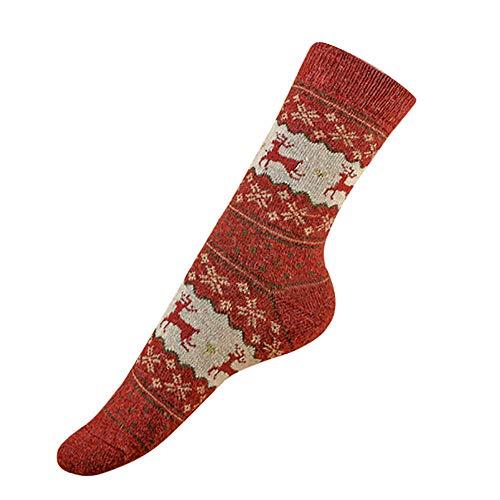 HYIRI ✈ Xmas Christmas lovely 2Pcs Adult Vintage Cute Socks,Women Men Christmas Elks Snowflakes Socks -