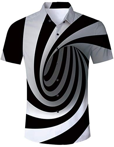 Men's Hawaiian Shirt Black and White Swirl Psychedelic Trippy Circle Print Tropical Beach Aloha Shirt Casual Button Down Short Sleeve Dress Shirt]()