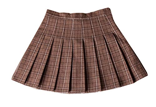 Women's Sports High Waist School Uniforms Cosplay Costumes Plaid Pleated Mini A-line Skirt, Khaki, US 6 = Tag L