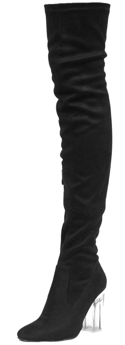 CAPE ROBBIN Fay-2 Over The Knee Stretch Glass Heel Thigh High Boots,Black Suede,8.5