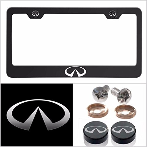 Fit Infiniti Laser Engraved Logo License Plate Frame Made of Industrial Grade Powder Coated Black Matte Black Stainless Steel w/ Caps and - For Infiniti Plate License Frame
