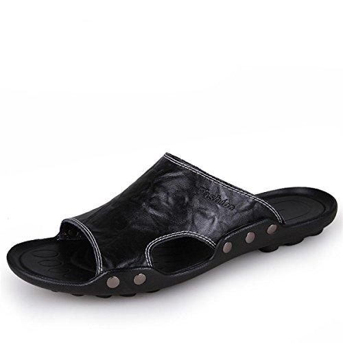 Black LYJBIK Suave Los Verano Ligero Del Ocasionales Hombres Zapatillas Cómodo De Casuales Sandalias 4RWFZ47