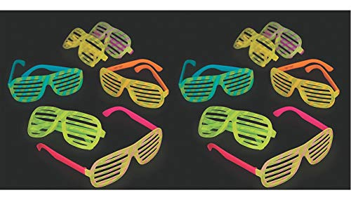 Fun Express 2 Set of 12 Glow-in-The-Dark Shutter Sunglasses