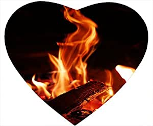 Flame Heart Sahped Mouse Pad On fire by mcsharks