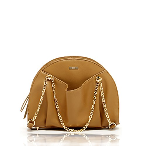 SUSU The Charlotte Unique Leather Satchel Tobacco Brown Purse with Front Pockets Easy Access for Phone with Double Chain Handle Cute Designer Handbags Camel Color Bags for Women Unique it (Charlotte Leather Satchel)