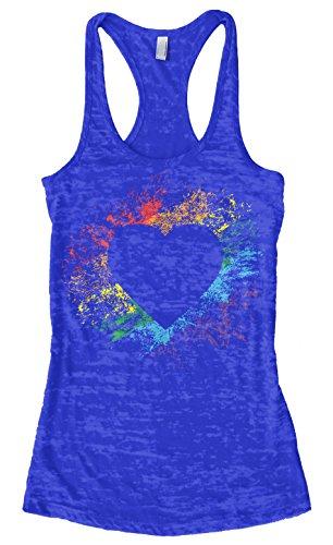 Threadrock Women's Rainbow Heart Burnout Racerback Tank Top L Royal Blue