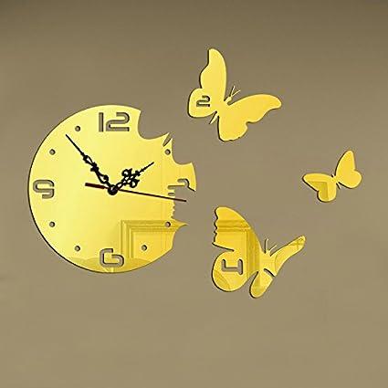 Amazon.com: BABYQUEEN Creative Butterfly Wall Clock DIY 3D Acrylic ...