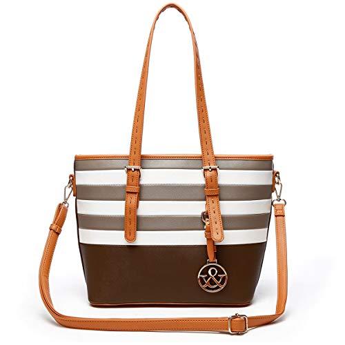 HNA Classic Multi Color Striped Top Handle Tote Bag