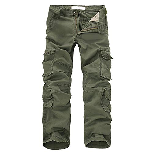 Sokajoy ♦ Men's Assault Tactical Pants Lightweight Cotton Multi-Pocket Active Outdoor Military Combat Cargo Trousers Army Green (Mask With Predator Removable)