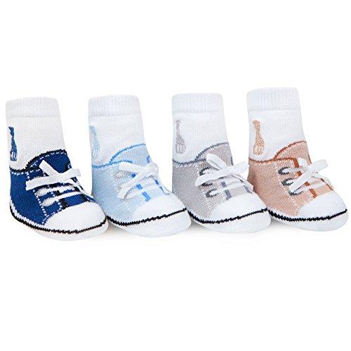 Sophie La Girafe Baby Boys Sneaker Shoe Socks 4 Pack Newborn 0-12 Mth Crew Socks