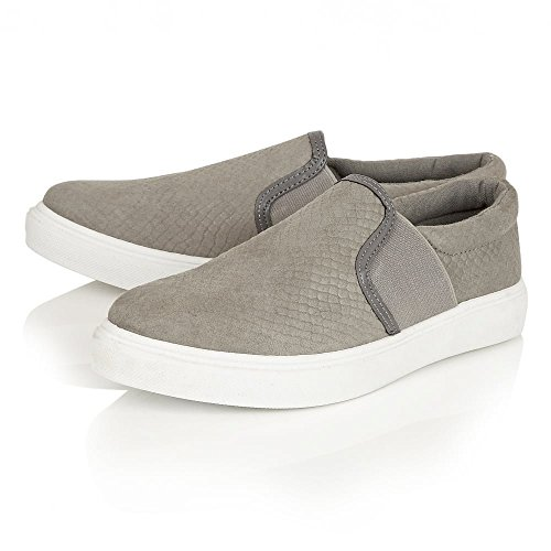 Ladies Womens Dolcis Skater Pumps Sneaker Plimsolls Trainers Platform Flat Shoes Sizes UK Grey Snake EQ3zhL2o
