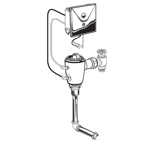 62.301.007 Concealed Flowise Selectronic 3/4-Inch Back Spud Urinal Flush Valve, AC Powered, 0.125 Gpf, Rough Brass ()