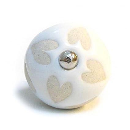 Cream Beige Patterned Ceramic Drawer Door Cupboard Knobs Door Handles Heart P4