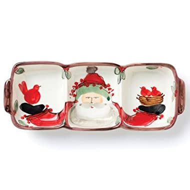 Vietri Old St. Nick Three Part Server - Stylish Christmas Ceramic Dish