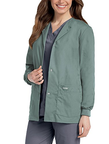 Mist Long Jacket - Landau Women's Crew Neck Warm-up Solid Scrub Jacket XX-Large Sea Mist