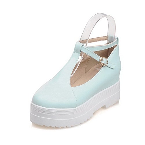 VogueZone009 Women's Round Closed Toe Buckle PU Solid High-Heels Pumps-Shoes Blue 83UDu