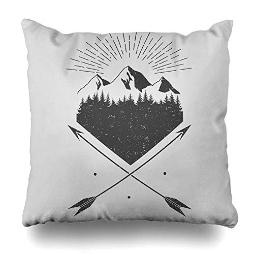 Mesllings Throw Pillow Cover Bo Adventure Mountains Forest Arrows Vectro Parks South Vintage Bear Camping Compass East Graphic Decorative Cushion Case 20x20 Inches Square Home Decor Pillowcase -