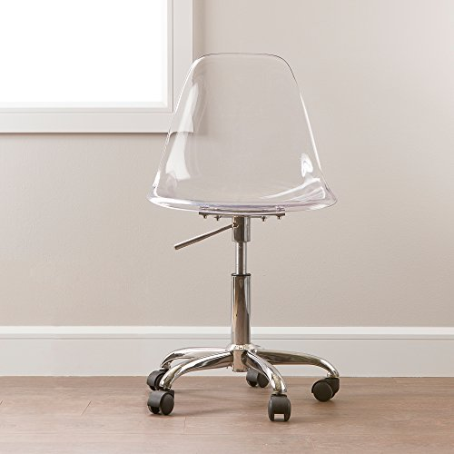 South Shore Modern Office Chair with Wheels – Adjustable Height, Clear