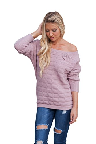Military Hippie Women's Cable Knit Boat Neck Off The Shoulder Sweater with Batwing Sleeves and Removable Rose
