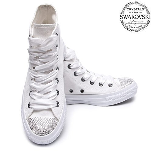 ee5b4420aae4dd Amazon.com  Swarovski Converse chuck taylor monochrome high top ...