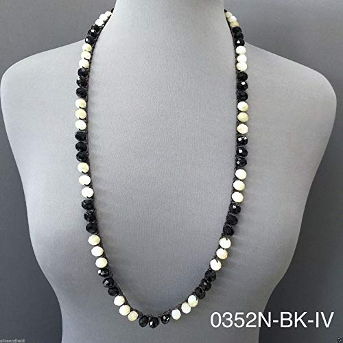 Long Leather String Faceted Natural Black Ivory Stone Beaded Toggle -