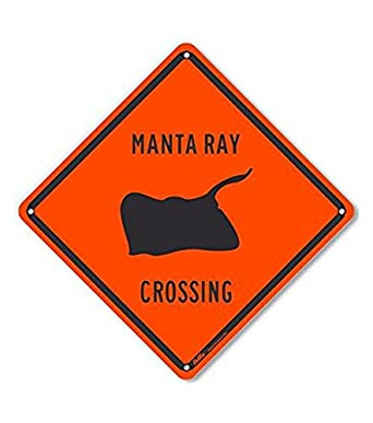 PetKa Signs and Graphics PKAC-0512-NA_10x10 Manta Ray Crossing Aluminum Sign, 10""