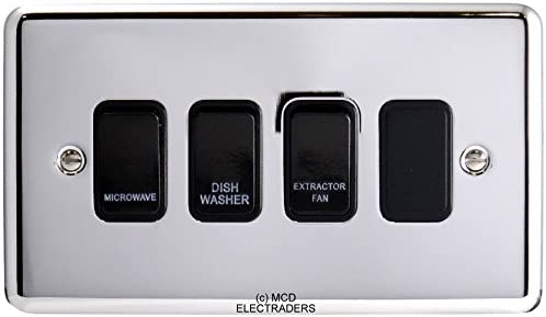 Boiler Water Heater Brushed Chrome 20A Double Pole Flat Plate Switch With Neon