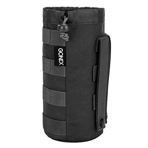 (Gonex Tactical Military MOLLE Water Bottle Pouch, Drawstring Open Top & Mesh Bottom Travel Water Bottle Bag Tactical Hydration Carrier)