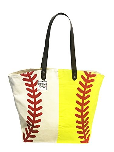 Baseball Softball Canvas Tote Bag Handbag Large Oversize Sports 20 x 17 Inches
