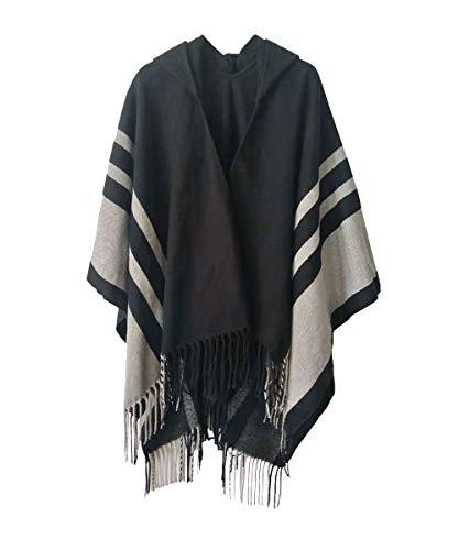 Boyzn Women's Hooded Poncho Capes Winter Sweater Coat Wrap Blanket Oversized Scarf Cardigans Fringed Shawls Style 02