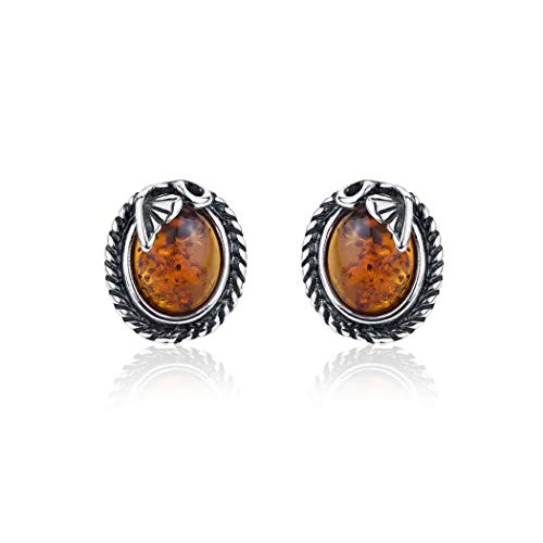 Honey Amber Sterling Silver Classic Oval - Earrings Amber Butterscotch