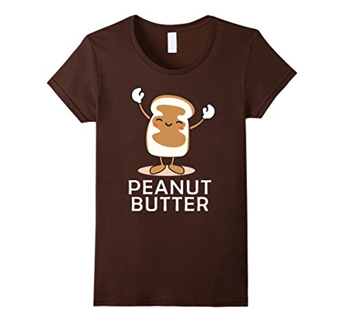 Womens Peanut Butter Halloween Couples Bff tee Easy Costume Jelly Small Brown (Bff Halloween Costume)