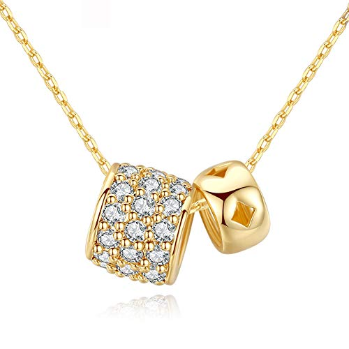 CZCITY Gold Pendant Necklaces for Women - 18K Rose Gold Plated CZ Necklaces, Best for Girls Gifts and Daily Wear (Bead Necklace)