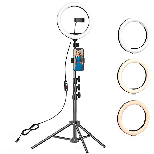 10.2 inch Selfie Ring Light with Tripod Stand & 2 Phone Holders,Anbes Dimmable Led Camera Ringlight for Photography…