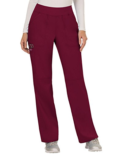 Cherokee Women's Mid Rise Straight Leg Pull-on Pant, Wine, Small