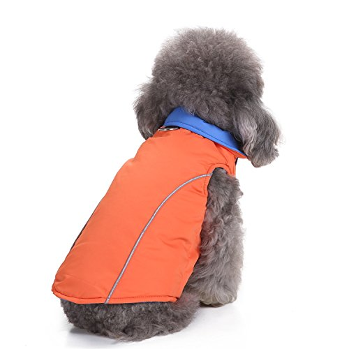 orange bluee M (Back 11.02'' Chest 16.92'') orange bluee M (Back 11.02'' Chest 16.92'') MDCT Dog Vest Jacket Reversible Warm Coat Pts Doggy Puppy Cold Weather Outdoor Clothese orange bluee
