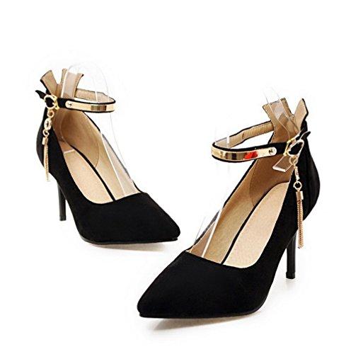 Odomolor Women's Buckle Pointed-Toe Spikes-Stilettos Soild Pumps-Shoes Black UBdWNCeC