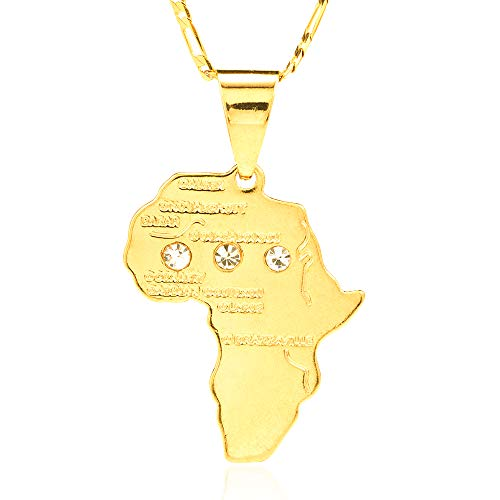 Ethlyn African Fashion Jewelry 18k Gold Plated African Map Pendant Necklace (with Diamond) ()
