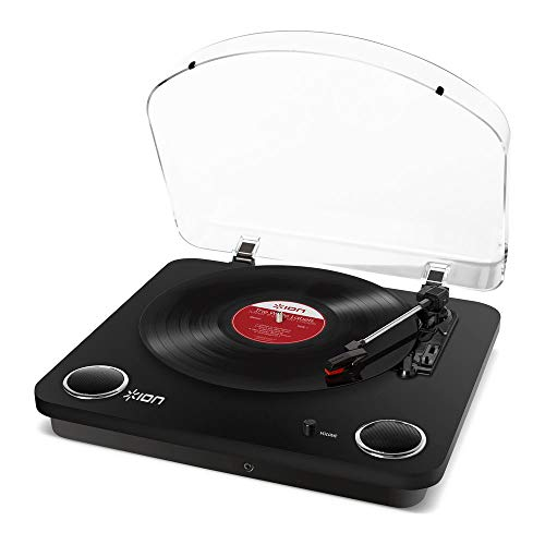 ION Audio Max LP - Three Speed Vinyl Conversion Turntable with Stereo Speakers, USB Output to Convert Vinyl Records to Digital Files and Standard RCA & Headphone Outputs - Glossy Black