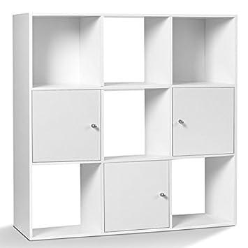 idmarket meuble de rangement cube 9 cases bois blanc avec 3 portes