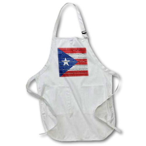 3dRose apr_156970_4 National Flag of Puerto Rico Painted onto a Brick Wall Rican Full Length Apron with Pouch Pockets, 22 by 30-Inch, Black, with Pockets -