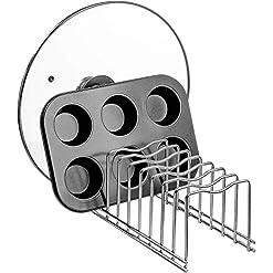 Kitchen SANNO Pot Lid Organizer Pot Lid Rack Holder Suitable for Bakeware Dish Plate, Cutting Boards, Pots & Pans, Serving Trays… pot lid holders