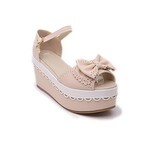AllhqFashion Women's Open Toe High-Heels Soft Material Solid Buckle Platforms & Wedges Beige zMWOATfy