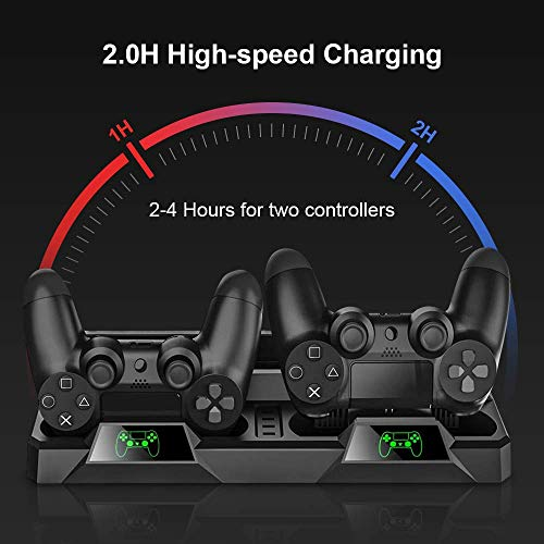 bedee PS4 Cooling Stand, All-in-One PS4 Vertical Stand Cooling Fan, Dual Controllers Charging Station with LED Indicator, 16 Game Disc Slots for PS4 / PS4 Slim / PS4 Pro