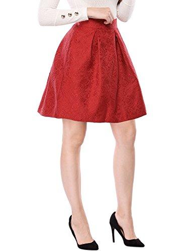 Skirt Jacquard Pleated - Allegra K Women's Floral Jacquard High Waisted Pleated Flare Midi Skirt M Red